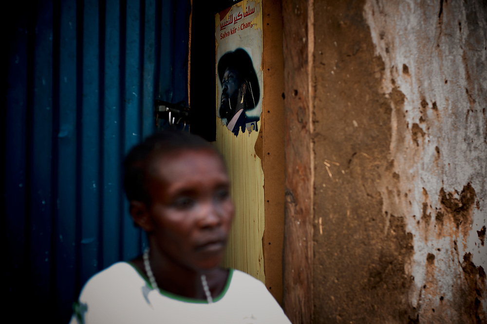 A picture of South Sudan President Salva Kirr is seen in a door of a house in a neighbourhood of Juba, the capital city of South Sudan.