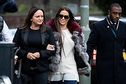 © Licensed to London News Pictures. 07/01/2019. London, UK. Former glamour model Katie Price (centre) arrives at Bromley Magistrates Court after being charged with drink driving. Her pink Range Rover was found crashed in a bush on 10 October 2018. Photo credit : Tom Nicholson/LNP