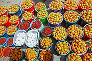 fresh fruit on display in a fruit stall on the roadside, Kyrgyzstan