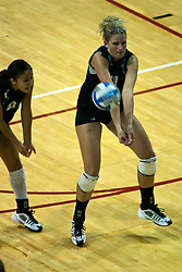 19 AUG 2006  Huskies Kate McCullagh returns a strike. Northern Illinois Huskies got slammed by Illinois State Redbirds, losing the match 3 games to 1. Game action took place at Redbird Arena on the campus of Illinois State University in Normal Illinois.