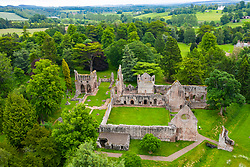 Aerial view of ruin of Dryburgh Abbey in Dryburgh , Scottish Borders, Scotland UK
