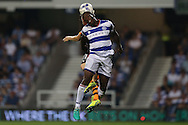 Nedum Onuoha of QPR heads the ball over Matt Richie of Newcastle United. EFL Skybet football league championship match, Queens Park Rangers v Newcastle Utd at Loftus Road Stadium in London on Tuesday 13th September 2016.<br /> pic by John Patrick Fletcher, Andrew Orchard sports photography.