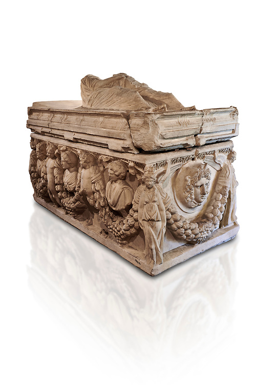 Roman relief garland  sculpted sarcophagus, style typical of Pamphylia, 3rd Century AD, Konya Archaeological Museum, Turkey. Against a white background .<br /> <br /> If you prefer to buy from our ALAMY STOCK LIBRARY page at https://www.alamy.com/portfolio/paul-williams-funkystock/greco-roman-sculptures.html . Type -    Konya     - into LOWER SEARCH WITHIN GALLERY box - Refine search by adding a subject, place, background colour, museum etc.<br /> <br /> Visit our ROMAN WORLD PHOTO COLLECTIONS for more photos to download or buy as wall art prints https://funkystock.photoshelter.com/gallery-collection/The-Romans-Art-Artefacts-Antiquities-Historic-Sites-Pictures-Images/C0000r2uLJJo9_s0
