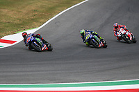 Maverick Vinales of Spain  and Movistar Yamaha MotoGP,  <br /> Valentino Rossi of Italy  and Movistar Yamaha MotoGP, Danilo Petrucci of Italy and OCTO Pramac Racing  during the MotoGP Italy Grand Prix 2017 at Autodromo del Mugello, Florence, Italy on 4th June 2017. Photo by Danilo D'Auria.<br /> <br /> Danilo D'Auria/UK Sports Pics Ltd/Alterphotos