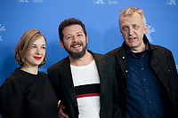 Producer Maria Drandaki Director, Screenwriter, Syllas Tzoumerkas and producer Titus Kreyenberg at the photocall for the film The Miracle Of The Sargasso Sea (To Thávma Tis Thálassas Ton Sargassón) at the 69th Berlinale International Film Festival, on Saturday 9th February 2019, Hotel Grand Hyatt, Berlin, Germany.