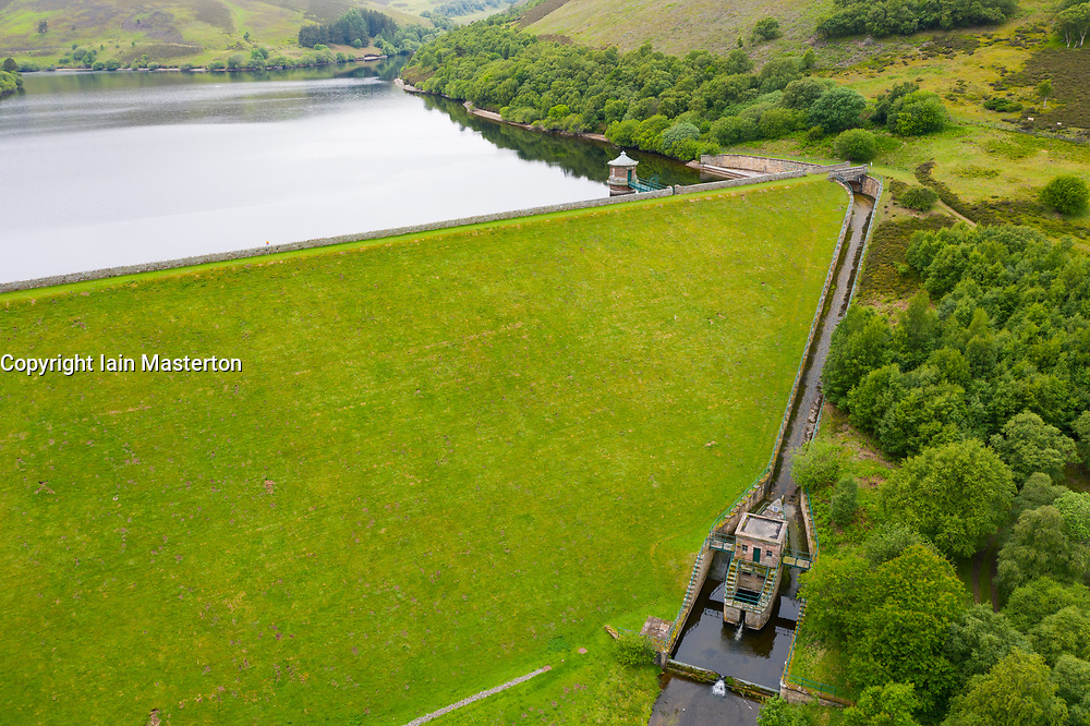 Aerial view of spillway at Hopes reservoir in East Lothian. Scotland, UK.