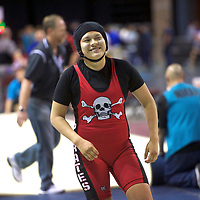 Grants Pirate Kurstian Martines, left, grapples with Mayfield Trojan Letizia Pereyra in the girls 160-pound class third place match during the 2018 New Mexico High School Wrestling Championship at the Santa Ana Star Center in Rio Rancho Saturday.
