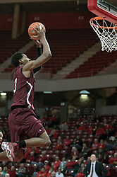 05 January 2014:  Desmar Jackson sails towards the hoop for a dunk during an NCAA  mens basketball game between the Salukis of Southern Illinois and the Illinois State Redbirds  in Redbird Arena, Normal IL.  Final score ISU 66, SIU 48