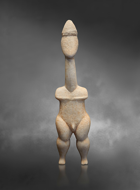 Cycladic statue figurine of the naturalistic 'Plastira' type of Paros. Early Cycladic Period I (Grotta-Pelos Phase 3200-2800 BC). National Archaeological Museum, Athens.   Gray background.<br /> <br /> <br /> This type of Cycladic figurine stand with feet lat to the ground with detailed facial features and ears to make a more realistic statue. This statue is of a hunter or warrior as it bears an incised weapon strap across its chest and holds a knife. .<br /> <br /> If you prefer to buy from our ALAMY PHOTO LIBRARY  Collection visit : https://www.alamy.com/portfolio/paul-williams-funkystock/cycladic-art-artefacts.html Type into the LOWER SEARCH WITHIN GALLERY box to refine search by adding background colour, place, museum etc<br /> <br /> Visit our CYCLADIC CIVILISATIONS PHOTO COLLECTIONS for more photos to download or buy as wall art prints https://funkystock.photoshelter.com/gallery-collection/Cycladic-civilisation-Ancient-Greek-Artefacts-art-Photos-Pictures-Images/C0000CmevVvnC.XU