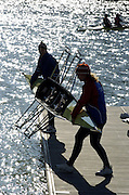 2005 FISA Team Cup, Rio Guadalquiver Rowing Course, Seville, SPAIN, 19.02.2005. Training Day; RUS W2X right Irina Fediotova..Photo  Peter Spurrier. .email images@intersport-images... Sunrise, Sunsets, Silhouettes