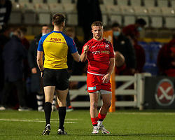 Tom Whiteley of Saracens fist bumps referee George Selwood after the final whistle - Mandatory by-line: Nick Browning/JMP - 26/02/2021 - RUGBY - Butts Park Arena - Coventry, England - Coventry Rugby v Saracens - Friendly