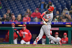 April 11, 2018 - Philadelphia, PA, U.S. - PHILADELPHIA, PA - APRIL 11: Cincinnati Reds second baseman Scooter Gennett (3) makes contact during the MLB game between the Cincinnati Reds and the Philadelphia Phillies on April 11, 2018 at Citizens Bank Park in Philadelphia PA. (Photo by Gavin Baker/Icon Sportswire) (Credit Image: © Gavin Baker/Icon SMI via ZUMA Press)
