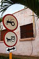 Traffic signs in Vinales, Pinar del Rio, Cuba.
