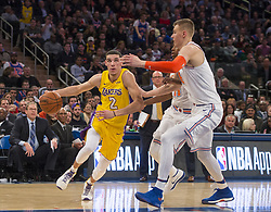 December 12, 2017 - Manhattan, NY, USA - The Los Angeles Lakers' Lonzo Ball (2) drives to the basket against the New York Knicks at Madison Square Garden in New York on Tuesday, Dec. 12, 2017. The Knicks won, 113-109, in overtime. (Credit Image: © Howard Simmons/TNS via ZUMA Wire)