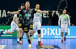 Julius Kuehn of Germany reacts during handball match between National Teams of Germany and Slovenia at Day 2 of IHF Men's Tokyo Olympic  Qualification tournament, on March 13, 2021 in Max-Schmeling-Halle, Berlin, Germany. Photo by Vid Ponikvar / Sportida