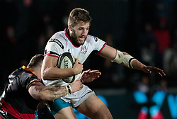 Ulster Rugby's Stuart McCloskey is tackled by Dragons' Lloyd Fairbrother<br /> <br /> Photographer Simon King/Replay Images<br /> <br /> Guinness Pro14 Round 10 - Dragons v Ulster - Friday 1st December 2017 - Rodney Parade - Newport<br /> <br /> World Copyright © 2017 Replay Images. All rights reserved. info@replayimages.co.uk - www.replayimages.co.uk