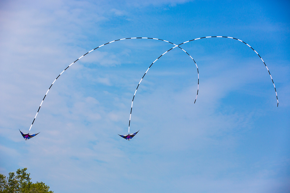 Kites Over Lake Michigan at Neshota Beach in Two Rivers, Wisconsin Labor day weekend 2015.  Photo by Mike Roemer