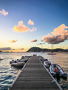 A view of the dinghy dock and harbor in Bourg de Saintes at sunset, shot on iPhone