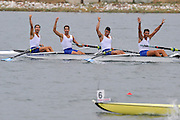 Marathon, GREECE, GRE M4-  winning the final of the men's fours at the FISA European Rowing Championships.  Lake Schinias Rowing Course, SAT. 20.09.2008  [Mandatory Credit Peter Spurrier/ Intersport Images] , Rowing Course; Lake Schinias Olympic Rowing Course. GREECE