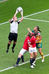 06-07-2011 VOETBAL: FIFA WOMENS WORLDCUP 2011 AUSTRALIA - NORWAY: LEVERKUSEN<br /> In dieser Szene verletzt sich Ingrid Huelmseth (Norgwegen) im Tor und muss lange behandelt werden<br /> ***NETHERLANDS ONLY***<br /> ©2011-FRH- NPH/Mueller