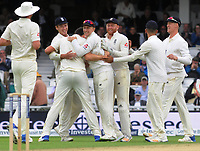 Cricket - 2017 South Africa Tour of England - Third Test, Day Two<br /> <br /> England debutant, Toby Roland - Jones celebrates his wicket during the afternoon session with team mates at The Oval.<br /> <br /> COLORSPORT/ANDREW COWIE