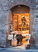 A wine merchants shop in the medieval town San Gimignano, a UNESCO Heritage site, in Tuscany, Italy