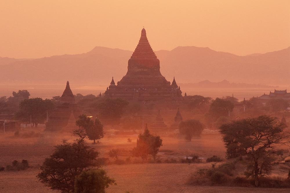 Sunset view of temples at Bagan