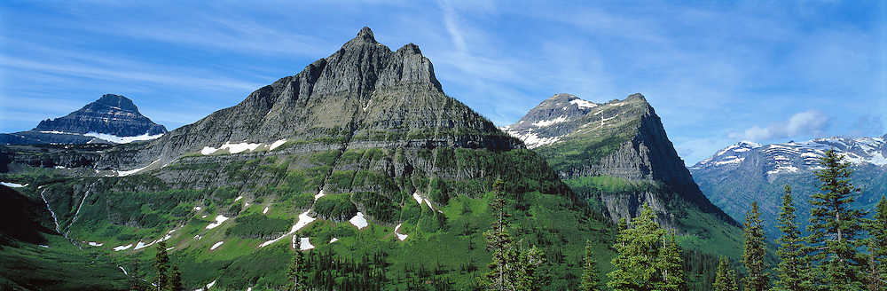 Mt. Clemens and Mt. Oberlin in the Rocky Mountains, are viewed from Logan Pass area in Glacier National Park, Montana.