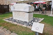 sarcophagus - coffin made of stone, Caesarea, Israel