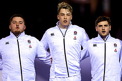 Alfie Petch, Richard Capstick and Sam Maunder of England U20- Mandatory by-line: Robbie Stephenson/JMP - 22/02/2019 - RUGBY - Zip World Stadium - Colwyn Bay, Wales - Wales U20 v England U20 - Under-20 Six Nations