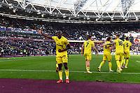Football - 2021 / 2022  Premier League - West Ham United vs Brentford - The London Stadium - Sunday 3rd October 2021<br /> <br /> Yoane Wissa of Brentford celebrates scoring his side's second goal.<br /> <br /> COLORSPORT/Ashley Western
