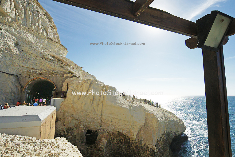 Israel, Rosh Hanikra, head of the grottos is a geologic formation located on the coast of the Mediterranean Sea, in the Western Galilee near the border with Lebanon. It is a white chalk cliff face which opens up into spectacular grottos.
