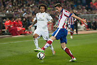 Atletico de Madrid's Gabriel Fernandez and Real Madrid's Marcelo during 2014-15 Spanish King Cup match at Vicente Calderon stadium in Madrid, Spain. January 07, 2015. (ALTERPHOTOS/Luis Fernandez)