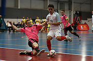 Kyle Ballingall of Scotland tackles Agon Rexha of England. England v Scotland match, Home nations Futsal tournament at the Cardiff city House of Sport in Cardiff, South Wales on Friday 2nd December 2016. This inaugural tournament played over 3 days brings together teams from Wales, England, Scotland and Northern Ireland. <br /> pic by Andrew Orchard, Andrew Orchard sports photography.