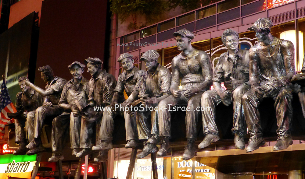 Iron Workers sculpture by Sergio Furnari in Manhattan, New York City, NY, USA