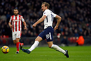 Harry Kane of Tottenham Hotspur takes a shot at goal. Premier league match, Tottenham Hotspur v Stoke City at Wembley Stadium in London on Saturday 9th December 2017.<br /> pic by Steffan Bowen, Andrew Orchard sports photography.