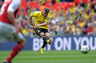 Burton Albion's Alex MacDonald with a volley at goal. Skybet football league two play off final match , Burton Albion v Fleetwood Town at Wembley Stadium in  London on Monday 26th May 2014.<br /> pic by John Patrick Fletcher, Andrew Orchard sports photography.