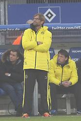 Football: Germany, 1. Bundesliga, Hamburg, 16.02.2014<br />Juergen Klopp coach  (Borussia Dortmund) disappointment<br /> copyright: pixathlon