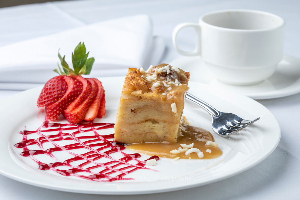 Nottoway's Mansion Restaurant serves classic Creole-inspired Louisiana cuisine and desserts including Miss Sharon's Homemade White Chocolate Bread Pudding.