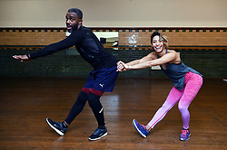 Embargoed to 0001 Thursday November 08 Strictly Come Dancing contestants Charles Venn and Karen Clifton practice their latest dance routine, the Charleston, at a dance studio in London.