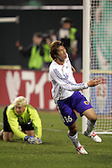 10 February 2006: Japan's Seiichiro Maki (16) reacts after beating U.S. goalkeeper Kevin Hartman (l), and scoring a goal in the 60th minute to cut the U.S. lead to 3-1. The United States Men's National Team defeated Japan 3-2 at SBC Park in San Francisco, California in an International Friendly soccer match.