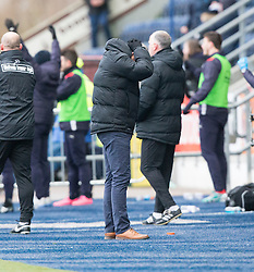 Dundee United's manager Ray McKinnon after Falkirk's Nathan Austin was brought down by Dundee United's keeper Luis Zwick for their penalty. Falkirk 3 v 0 Dundee United, Scottish Championship game played 11/2/2017 at The Falkirk Stadium.