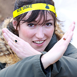06.11.2010, Castortransport Demonstration, Dannenberg Nebenstedt, GER, Charlotte Roche mit dem X gegen Atomkraft, EXPA Pictures © 2010, PhotoCredit: EXPA/ nph/  Kohring+++++ ATTENTION - OUT OF GER +++++