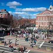 Samuel Adams monument and Faneuil Hall, Boston
