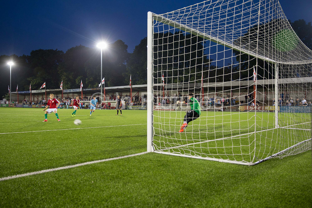 Karpatalya score a penalty in the 4 - 2 victory for Karpatalya red against Szekely Land blue during the Conifa Paddy Power World Football Cup semi finals on the 7th June 2018 at Carshalton Athletic Football Club in the United Kingdom. The CONIFA World Football Cup is an international football tournament organised by CONIFA, an umbrella association for states, minorities, stateless peoples and regions unaffiliated with FIFA.