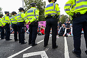 Police continue to arrest climate change protestors in Parliament Square, central London on Tuesday, Sept 1, 2020. Ten days of climate change demonstrations have begun as Extinction Rebellion (XR) take to the streets across the UK.  (VXP Photo/ Vudi Xhymshiti)