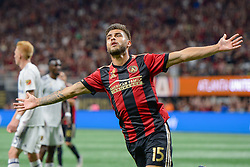 September 22, 2018 - Atlanta, GA, U.S. - ATLANTA, GA Ð SEPTEMBER 22:  Atlanta's Hector Villalba (15) reacts after scoring a goal during the match between Atlanta United and Real Salt Lake on September 22nd, 2018 at Mercedes-Benz Stadium in Atlanta, GA.  Atlanta United FC defeated Real Salt Lake by a score of 2 to 0.  (Photo by Rich von Biberstein/Icon Sportswire) (Credit Image: © Rich Von Biberstein/Icon SMI via ZUMA Press)