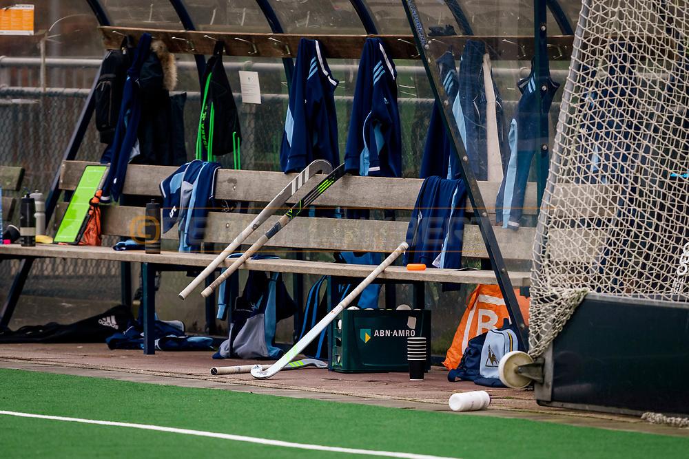 LAREN -  Hockey Hoofdklasse Dames: Laren v Pinoké, seizoen 2020-2021. Foto: Bank Laren tijdens de rust
