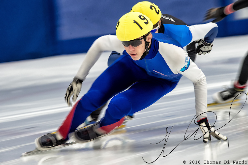 March 20, 2016 - Verona, WI - Conor McDermott-Mostowy, skater number 190 competes in US Speedskating Short Track Age Group Nationals and AmCup Final held at the Verona Ice Arena.