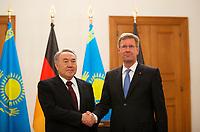 DEU, Deutschland, Germany, Berlin, 08.02.2012:<br />Kasachstans Präsident Nursultan Nasarbajew (L) und Bundespräsident Christian Wulff im Schloss Bellevue.